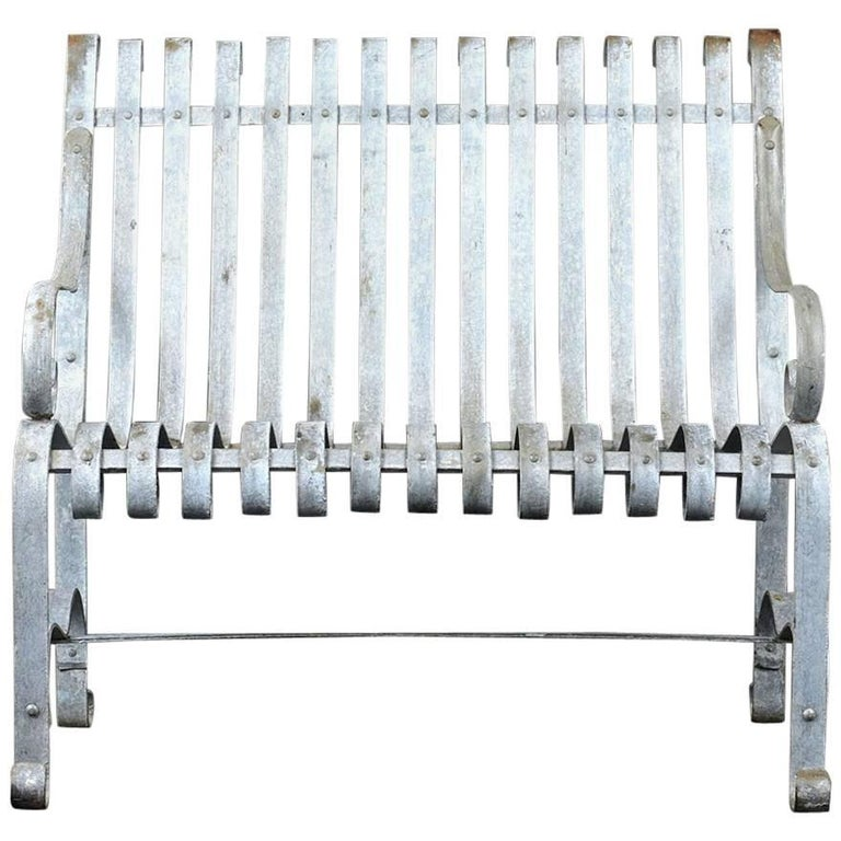 Antique Metal Outdoor Patio Bench
