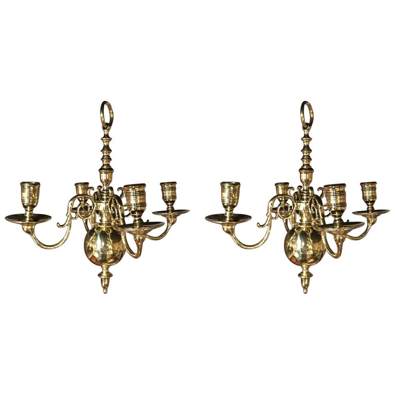 Pair of French Polished Brass Four-Light Chandeliers, 19th Century