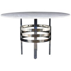Mid-Century Modern Chrome an Marble Round Center Table