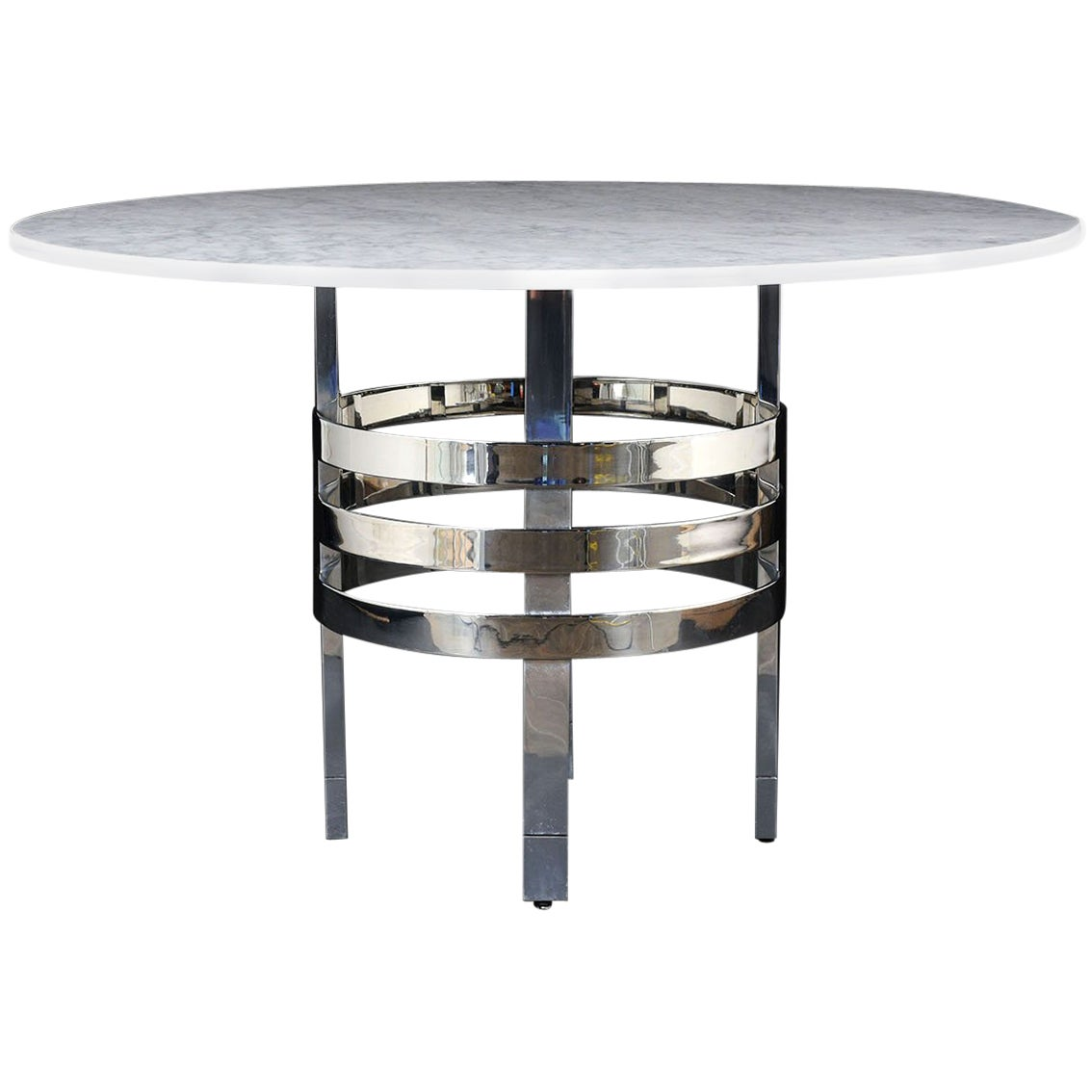Mid-Century Modern Round Marble Dining Table