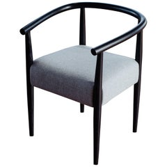 Captain's Chair, Handmade Modern Wood Frame and Wool Upholstered Seat Armchair