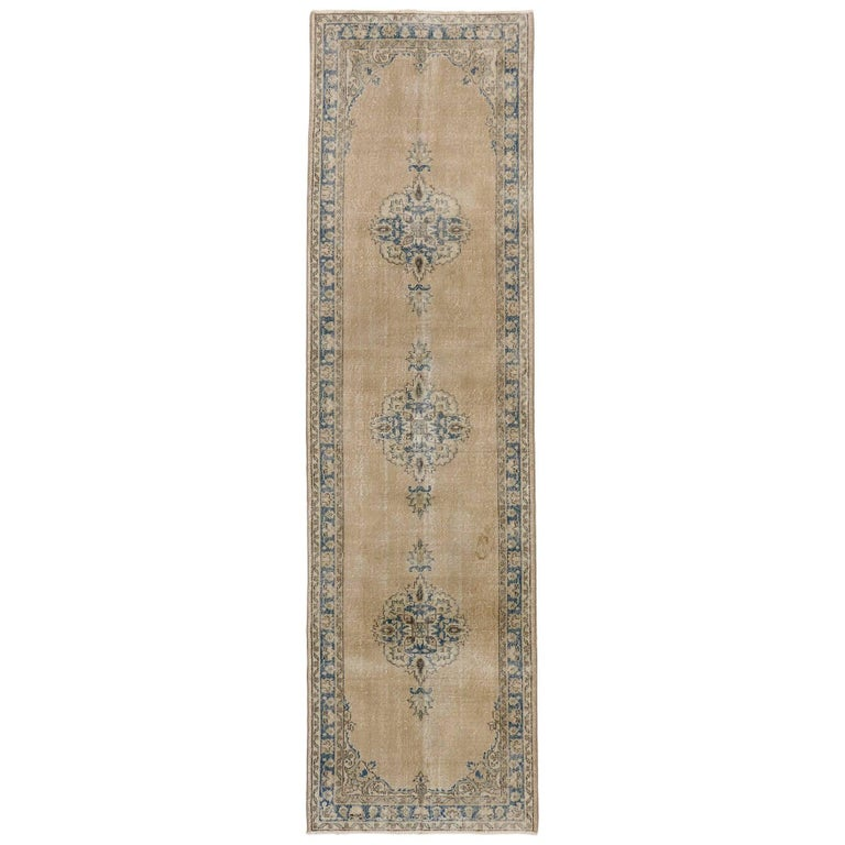 Distressed Vintage Turkish Sivas Runner with Gustavian Farmhouse Style For Sale