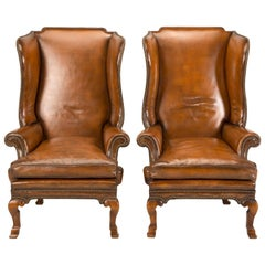 Pair of Antique English Wingback Leather Chairs, circa 1890