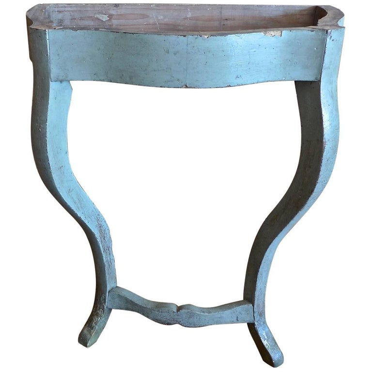 French, 19th Century Small Painted Wood Two Legged Console Table Frame
