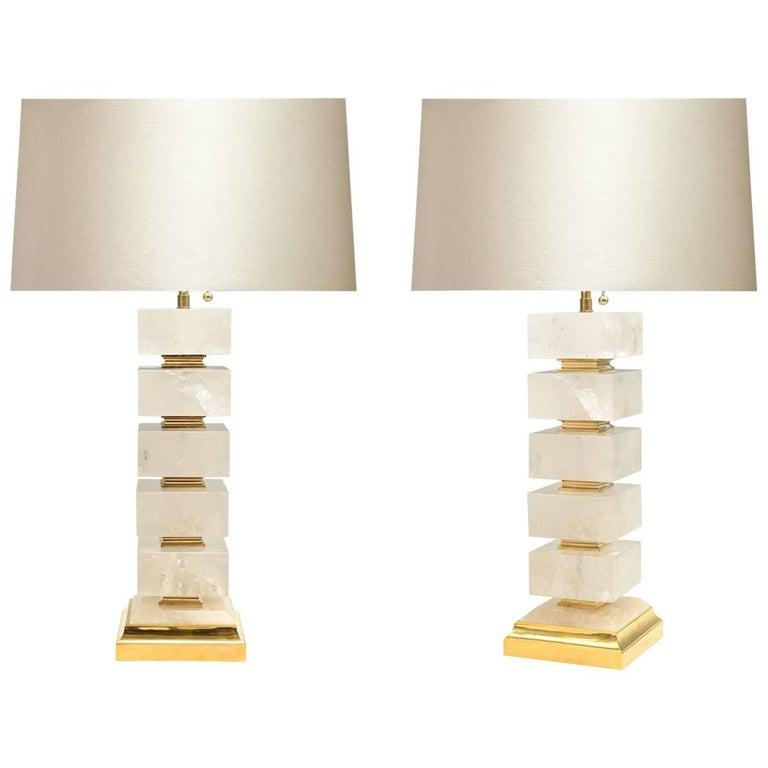 Pair of Block Form Rock Crystal Lamps