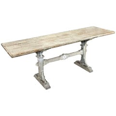 19th Century Country French Ceruse Trestle Table