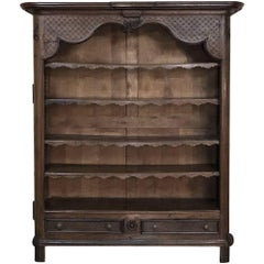19th Century Country French Open Baroque Hand Carved Bookcase