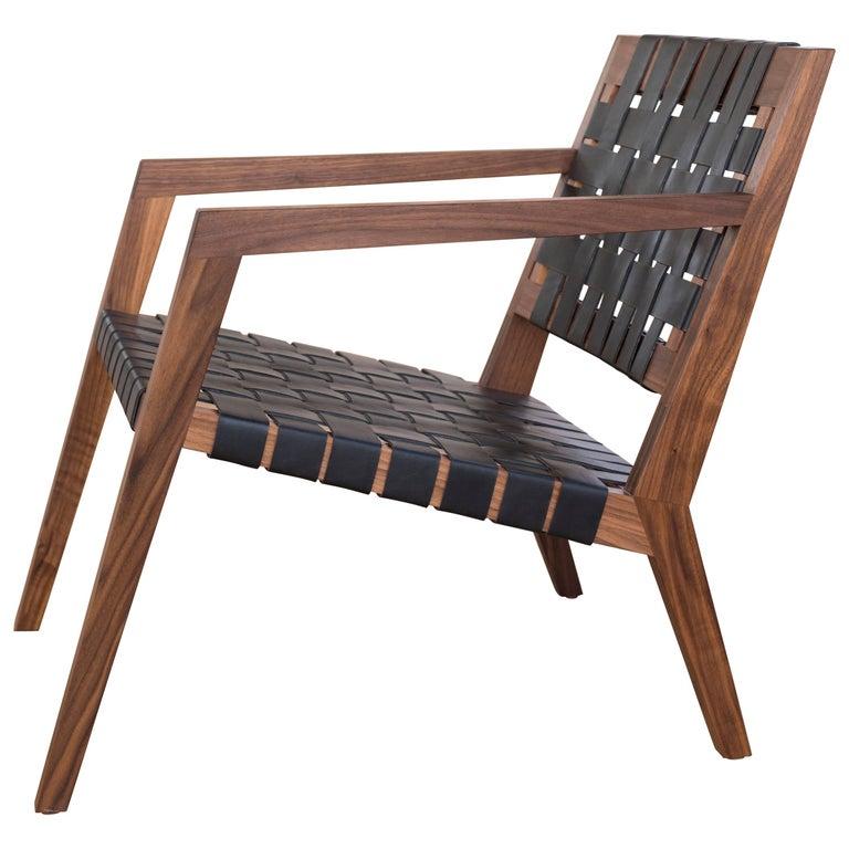 Phloem Studio Nadine Lounge Chair, Modern Walnut and Leather Strap Lounge For Sale