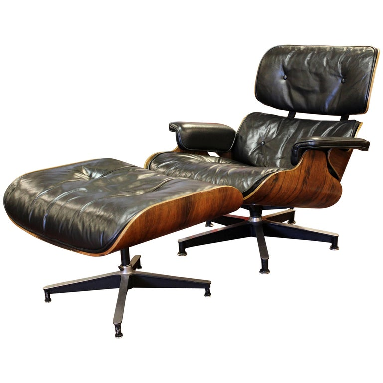 Mid-Century Modern Early Eames Herman Miller Rosewood Lounge Chair Ottoman 1950s
