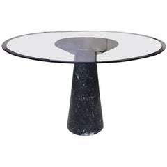 Round Dinner Table, Black Marble and Glass, circa 1970, Italy