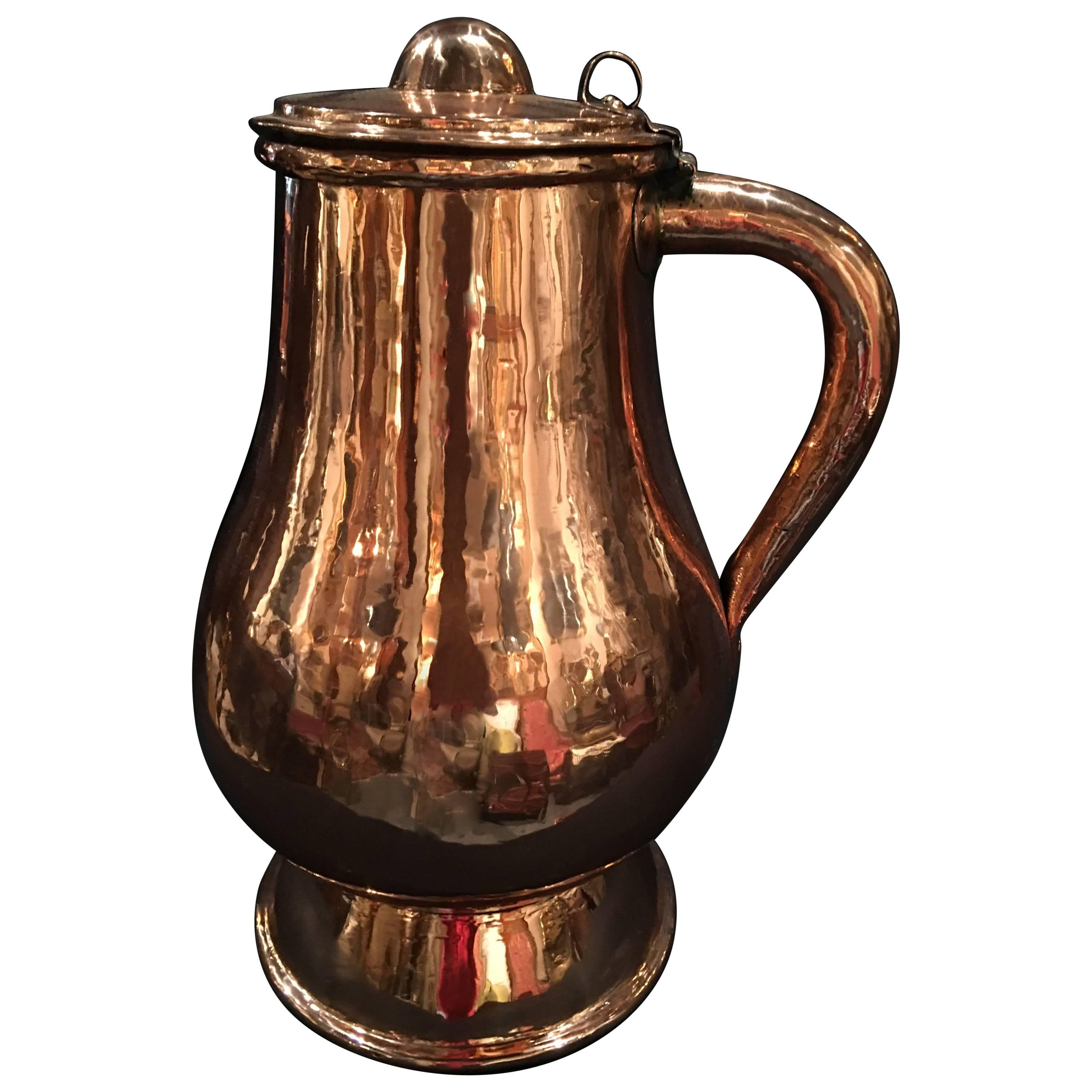 French Polished Copper Jug or Pitcher with Lid and Handle, 19th Century