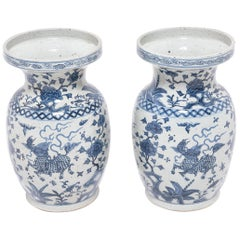 Pair of Early 20th Century, Chinese Blue and White Qilin Vases