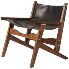 Peninsula Lounge Chair, Modern Walnut and Leather Sling Chair with Brass Details