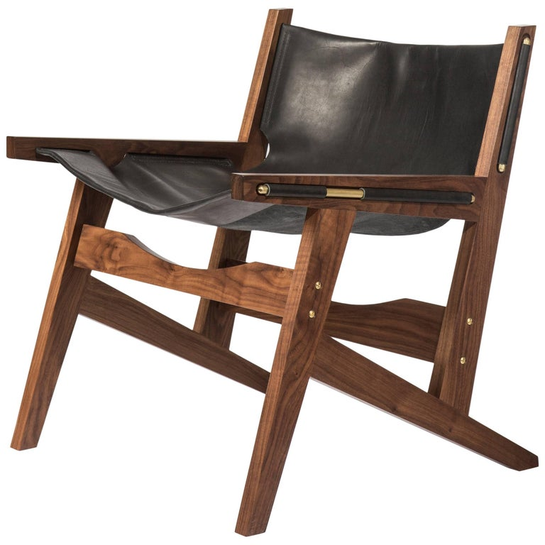 Peninsula Lounge Chair, Modern Walnut and Leather Sling Chair with Brass Details For Sale