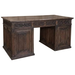 Antique Rustic Patinated Pine Gothic Partner's Desk