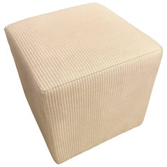 Hollywood Regency Style Cube Footstool or Ottoman in a Handwoven Tweed Fabric