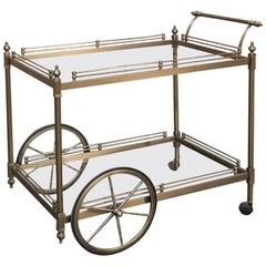 Midcentury Brass and Glass Serving Cart