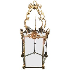 French Polished Brass Lantern with Glass Panels, 19th Century