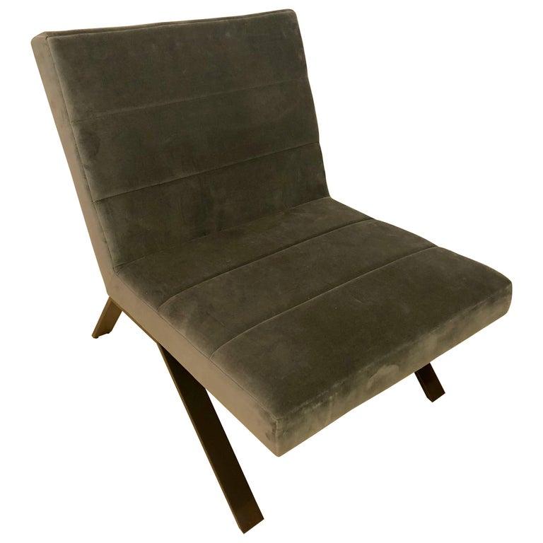 Mid-Century Modern Style Velvet Side Chair