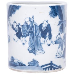 Early 20th Century, Chinese Blue and White Scholars' Brush Pot