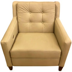 Hand-Stitched Leather Electronically Reclining Club Chair