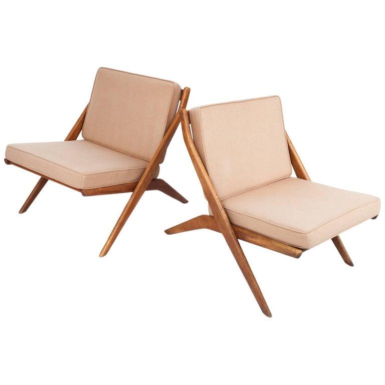Pair of Scandinavian Modern Scissor Chairs by Folke Ohlsson, Sweden/US, 1950s