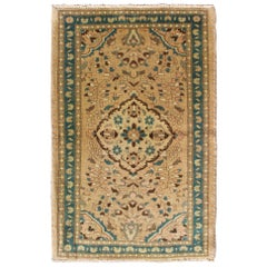 Floral Medallion Midcentury Persian Lilihan Rug in Tan, Taupe, and Turquoise