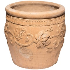 19th Century Chinese Impressive Floral Relief Urn