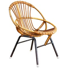 Bamboo/Rattan with Metal Legs Child's Chair by Rohe Noordwolde