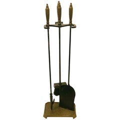 Mid-Century Modernist Brass and Iron Fireplace Tool Set