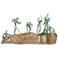 Organic Modern Bronze and Natural Stone Figurative Sculpture