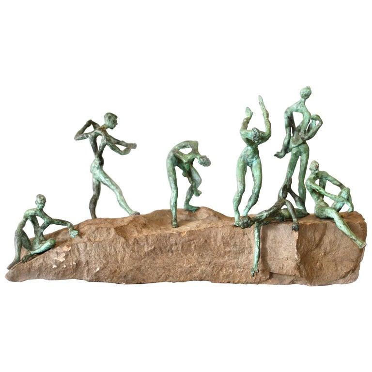 Organic Modern Bronze and Natural Stone Figurative Sculpture