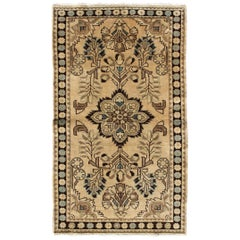 Floral Medallion Midcentury Persian Lilihan Rug in Tan, Cream, Onyx and Gray
