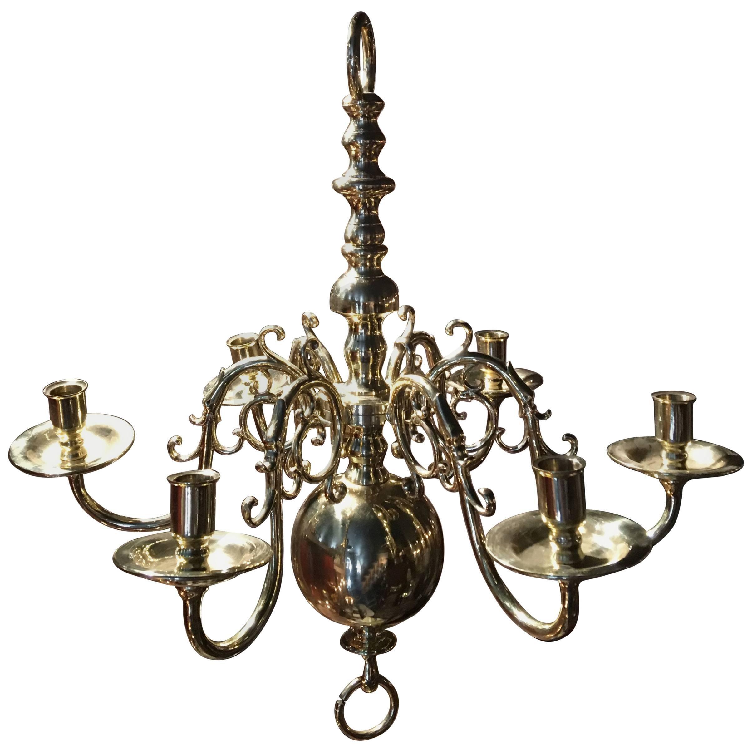Dutch Style French Polished Brass Six-Light Chandelier, 19th Century