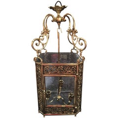 French Louis XV Style Reticulated Brass Three Light Lantern, 19th Century