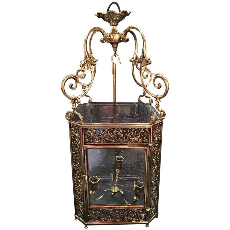 French Louis XV Style Reticulated Brass Three Light Lantern, 19th Century