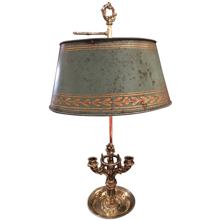 French Three-Candle Bouillotte Lamp with a Painted Metal Shade, 19th Century