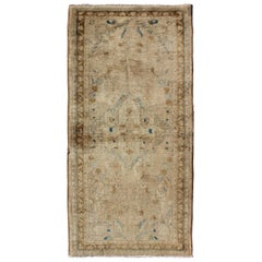 Floral Midcentury Persian Lilihan Rug in Taupe, Cream, and Brown with Blue