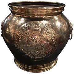 French Polished Brass Large Planter with Lion Ring Head Handles, 19th Century