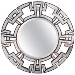 Large and Stunning Circular Mirror with Greek Key Mirrored Border