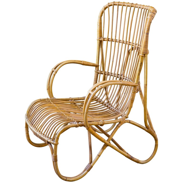 Midcentury Bamboo and Rattan Lounge Chair