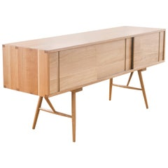 Pelican Cabinet, Modern White Oak Sideboard with Sliding Doors and Turned Legs
