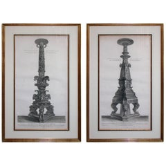 Pair of Italian Engravings of Monumental Torchieres by Giovanni Piranesi
