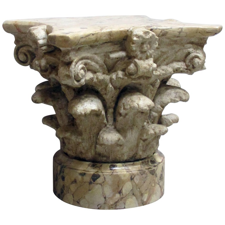 Exuberant American Painted Plaster Corinthian Capita, Faux Marble Base and Top