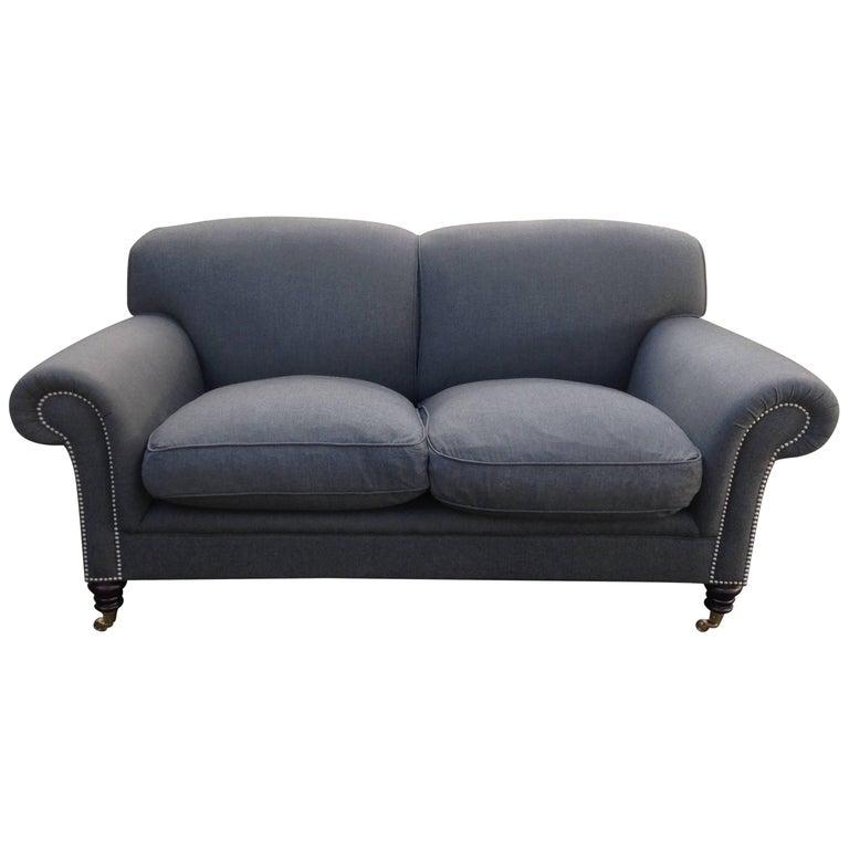 Smart George Smith Gray Wool Loveseat Sofa