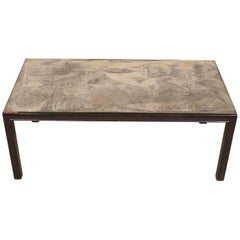 Figurative Etched Metal Top Coffee Table