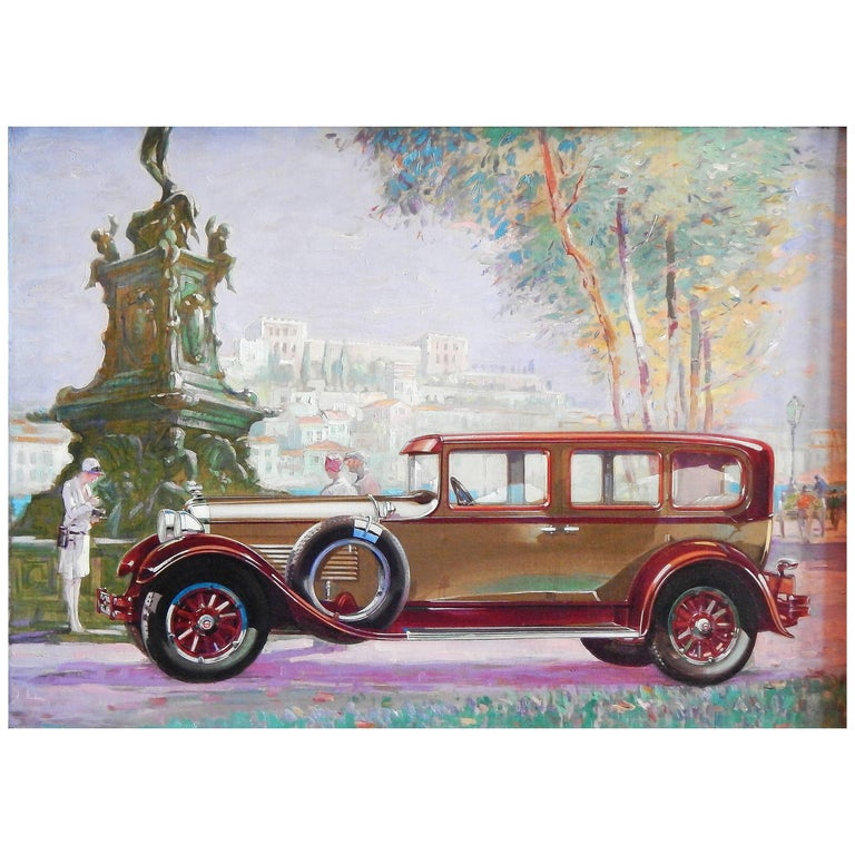 Original Painting for 1938 Packard Advertisement, Stunning Oil on Canvas For Sale