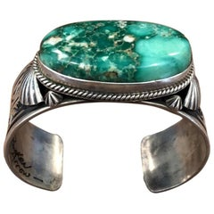 Navajo Variquoise / Turquoise & Sterling Silver Cuff Bracelet by Delbert Gordon