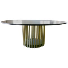 John Boone Wood and Brass Round Dining Table