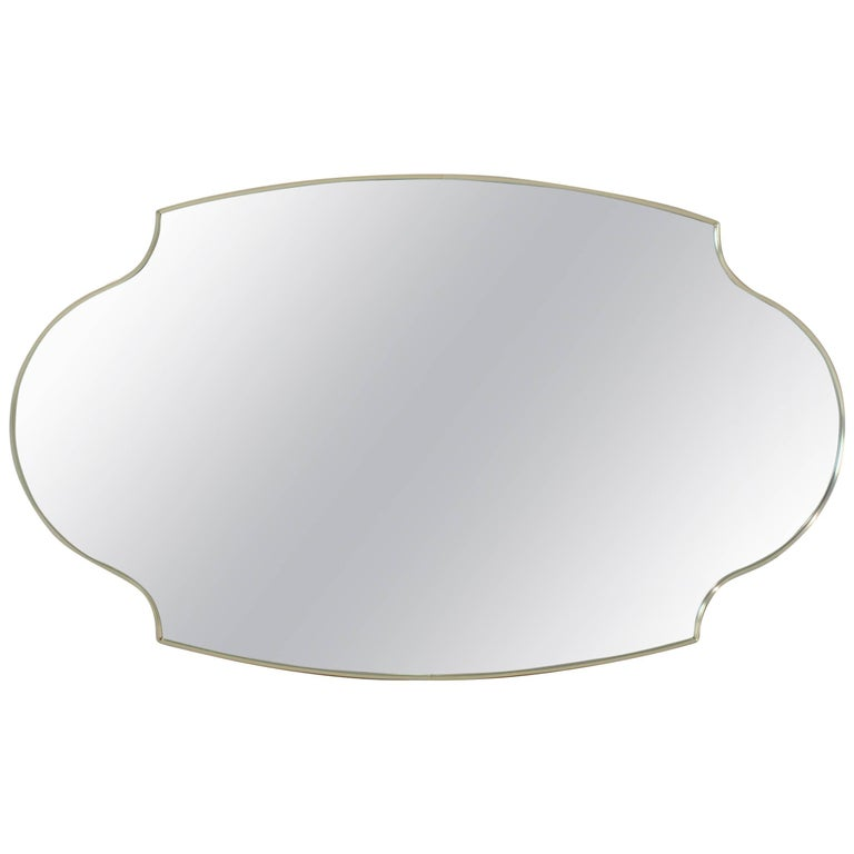 Large Shield Oval Scallop Anodized Aluminum Frame Wall Mirror